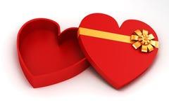 3d serca prezenta kształtny pudełko Zdjęcie Stock