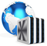 3d server blade units with earth globe Stock Image