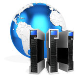 3d server blade units with earth globe Stock Photography