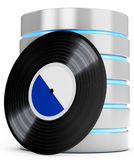 3d server database with Vinyl record. On white background Royalty Free Stock Image