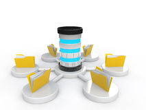 3d server and file folders. 3d render of server and file folders Stock Photos