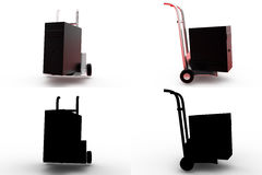 3d server on hand truck concept collections with alpha and shadow channel Royalty Free Stock Photography