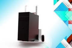 3d server on hand truck illustration Royalty Free Stock Photography