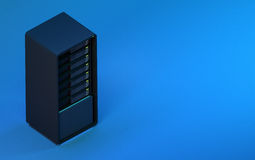 3d server render blue isometric Stock Images