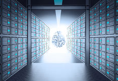 3d server room leading to metal human brain icon Stock Image
