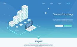 3d servers and data center connection network stock illustration