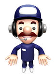3D Service man Mascot the direction of pointing with both hands Royalty Free Stock Photography