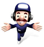 3D Service man Mascot the direction of pointing with both hands Stock Image