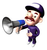 3D Service man Mascot the hand is holding a loudspeaker Royalty Free Stock Photography