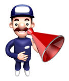 3D Service man Mascot the hand is holding a loudspeaker Stock Photo