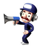 3D Service man Mascot the hand is holding a loudspeaker. Work an Royalty Free Stock Image