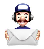 3D Service man Mascot holding a large letter Royalty Free Stock Image