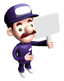3D Service man mascot holding a signpost. Work and Job Character Stock Photography