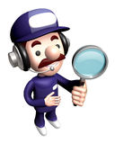 3D Service man Mascot mascot examine a with a magnifying glass Royalty Free Stock Images