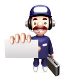 3D Service man Mascot showing a business card Stock Photos
