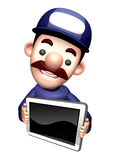 The 3D Service man Mascot shows the monitor Royalty Free Stock Photography