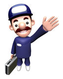 3D Service man mascot Suggests the direction Stock Photos