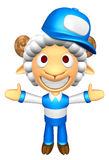 3D Service Sheep Mascot has been welcomed with both hands. 3D An Royalty Free Stock Photo
