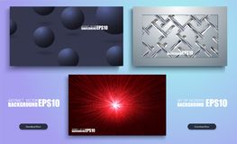 3D set of abstract colourful backgrounds. Modern Covers Template Design. Set of Trendy Holographic. Gradient shapes for Presentation, Magazines, Flyers, Annual stock illustration