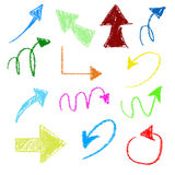 3d set of chalk arrows. On white background Stock Photo