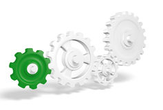 3d set of cogs. 3d illustration of set of interlocking cogs on white background Royalty Free Stock Photos