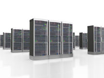 3d set of data servers in datacenter Stock Image