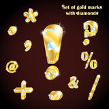3d set of gold characters and mathematical symbols with diamonds Royalty Free Stock Image