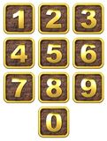 3D Set of Gold Metal Numbers. Stock Photo
