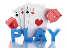 3d Set of playing card with dices. Casino concept. Stock Image
