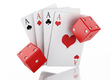 3d Set of playing card with dices. Casino concept. Royalty Free Stock Images