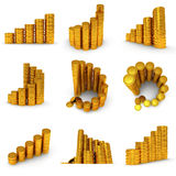 3d set of schedule of golden coins on white Royalty Free Stock Images