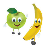 3D Set of Vector Fruits. Apple, Banana and  with Facial Expressions Royalty Free Stock Image