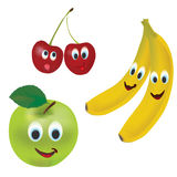 3D Set of Vector Fruits. Apple, Cherry, Banana and  with Facial Expressions Royalty Free Stock Images