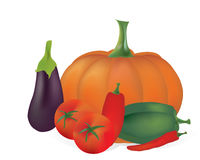 3D Set of Vector Vegetables. Tomatoes, Peppers, Pumpkin Royalty Free Stock Photography