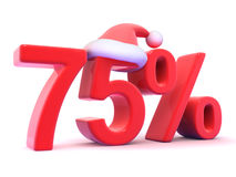 3d Seventy five percent symbol wearing a Santa hat Stock Images