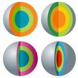 3d sfery ikony Płatowaty set Obrazy Stock