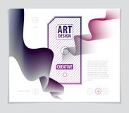 3d shape gradient color, vector abstract art element. Perfect fo. R gift card, cover, poster or brochure. Bright color wave dimensional object Stock Photo