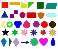 2D shapes for mathematics. Most useble flat shapes like squre round trigonal hexagonal stars for school students Royalty Free Stock Image