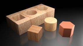 3D shapes to be inserted in the holes - 3D rendering Royalty Free Stock Photo
