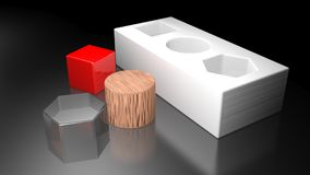3D shapes to be inserted in the holes - 3D rendering Royalty Free Stock Photography
