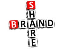 3D Share Brand Crossword cube words. On white background Stock Photo