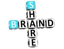 3D Share Brand Crossword cube words. On white background Stock Photography
