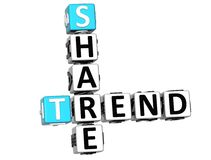 3D Share Brand Trend Crossword cube words. On white background Stock Images