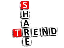 3D Share Brand Trend Crossword cube words Stock Photography