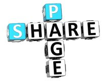 3D Share Page Crossword on white background Royalty Free Stock Photography