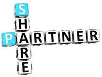 3D Share Partner Crossword. On white background Stock Photos
