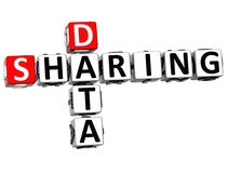 3D Sharing Data Crossword cube words. On white background Royalty Free Stock Images