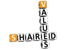 3D Sharing Values Crossword cube. Words on white background Stock Photos