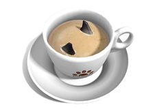 3D Shark Fins in Coffee. Rendering of a cup of coffee with two shark fins inside. The cup is isolated on white background stock illustration