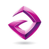 3d Sharp Glossy Magenta Logo Icon based on Letter A Royalty Free Stock Images
